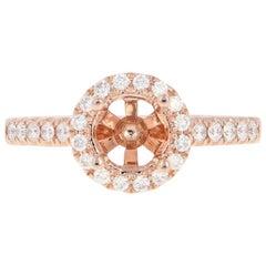 Semi-Mount Halo Engagement Ring, 14 Karat Gold Round Diamonds .31 Carat
