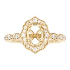 Semi-Mount Halo Ring 14 Karat Gold Engagement for Center with Diamonds .26 Carat