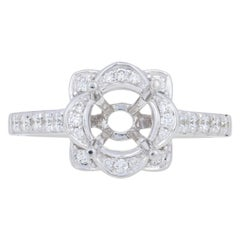 Semi-Mount Halo Ring 14 Karat Gold Engagement for Center with Diamonds .31 Carat