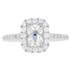 Semi-Mount Halo Ring, 14 Karat Gold for Emerald Cut Center Dias .60 Carat