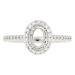 Semi-Mount Halo Ring, 14 Karat Gold for Oval Center with Diamonds .23 Carat