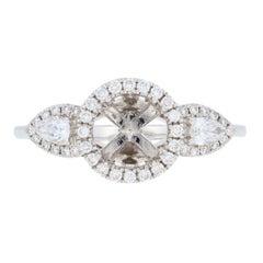 Semi-Mount Halo Ring 18 Karat Gold Engagement Center with Diamonds .64 Carat