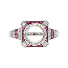 Semi-Mount Ring, 18 Karat Gold Rubies and Diamonds for Solitaire