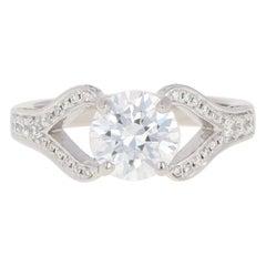 Semi-Mount Ring, Platinum Engagement Diamonds Round Brilliant .38 Carat