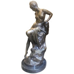 Semi Nude 19th Century Bronze Statue of a Woman