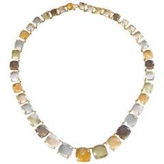 Semi Precious Cabochon Stones Graduated Yellow Gold 18 Karat Necklace