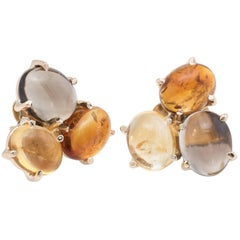 Semi Precious Gemstone Cluster Earrings