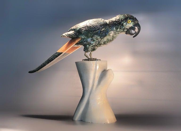 Semi precious gemstone figurine decorative small parrot bird.