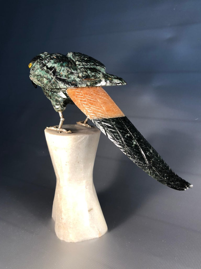Unknown Semi Precious Gemstone Figurine Decorative Small Parrot Bird SALE  For Sale