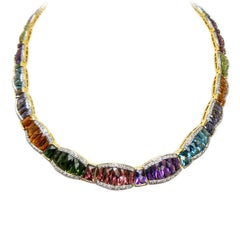 Multi Color 30 Carats Gemstones Yellow Gold Necklace