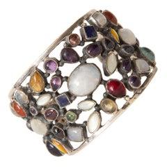 Semi Precious Stones and Sterling Silver Cuff Bracelet