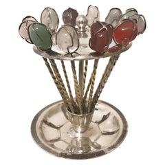 Halbedelsteine Cocktail Stahl Sticks / Stifte / Obst-Rührer, um 1950