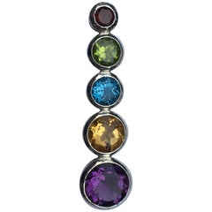 Semi Precious Stones Pendant set In Sterling Silver