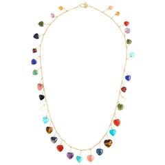 Semi-Previous Stone Heart Necklace