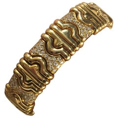 Semi-Rigid Opening Bracelet Gold 18 Karat Diamond 1.50 Carat