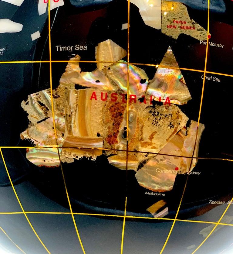 Multi-gemstone Semiprecious Stone Globe 20th Century Black For Sale