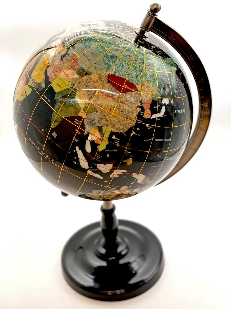 Semiprecious Stone Globe 20th Century Black For Sale 1