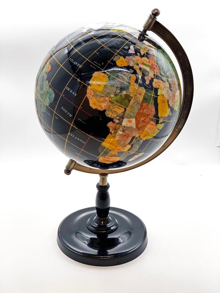 Semiprecious Stone Globe 20th Century Black For Sale 3