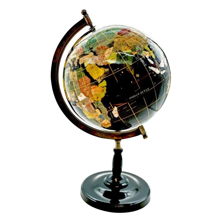 Semiprecious Stone Globe 20th Century Black For Sale