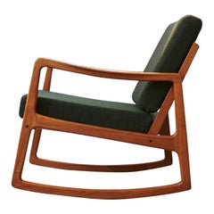 Senator Rocking Chair by Ole Wanscher, 1951, Teak, Anthracite