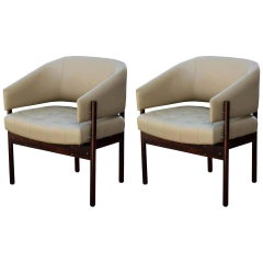 Senior Armchairs, Jorge Zalszupin Rosewood and Leather, 1970s, Brazil