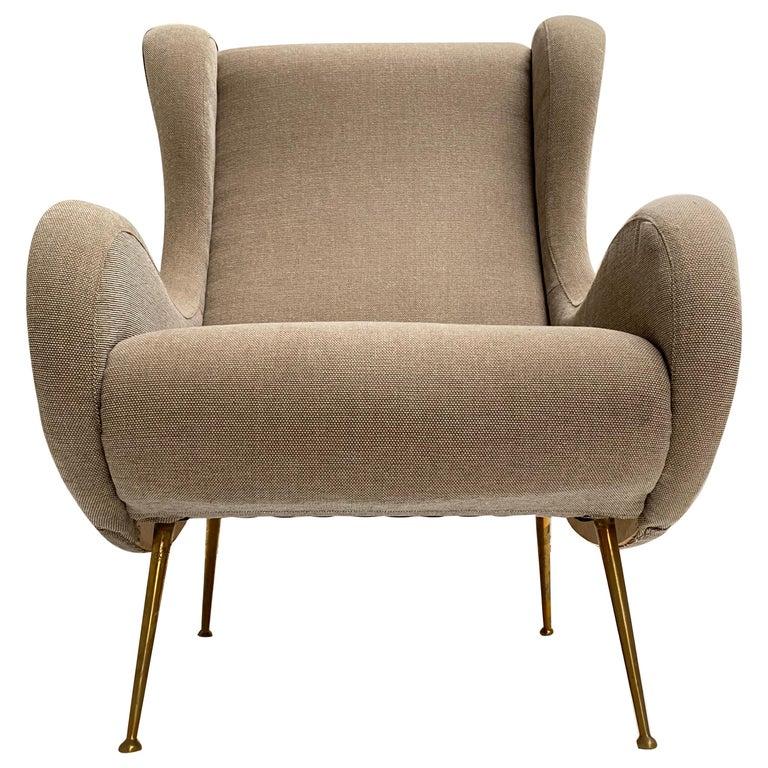 """Senior"" Chair Zanuso Style Lounge Chair by Arredamenti ISA Bergamo Italy, 1950s For Sale"