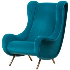 Senior Lounge Chair in Blue Velvet by Marco Zanuso for Arflex, Italy, 1955