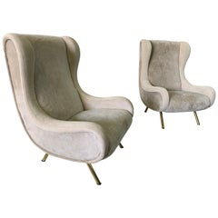 Senior Zanuso Armchairs in Shearling Wool and Suede Upholstery, Pair