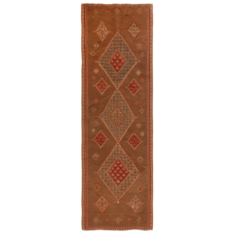 Senneh Beige and Red Wool Persian Kilim Rug