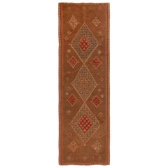 Senneh Beige and Red Wool Persian Kilim Rug