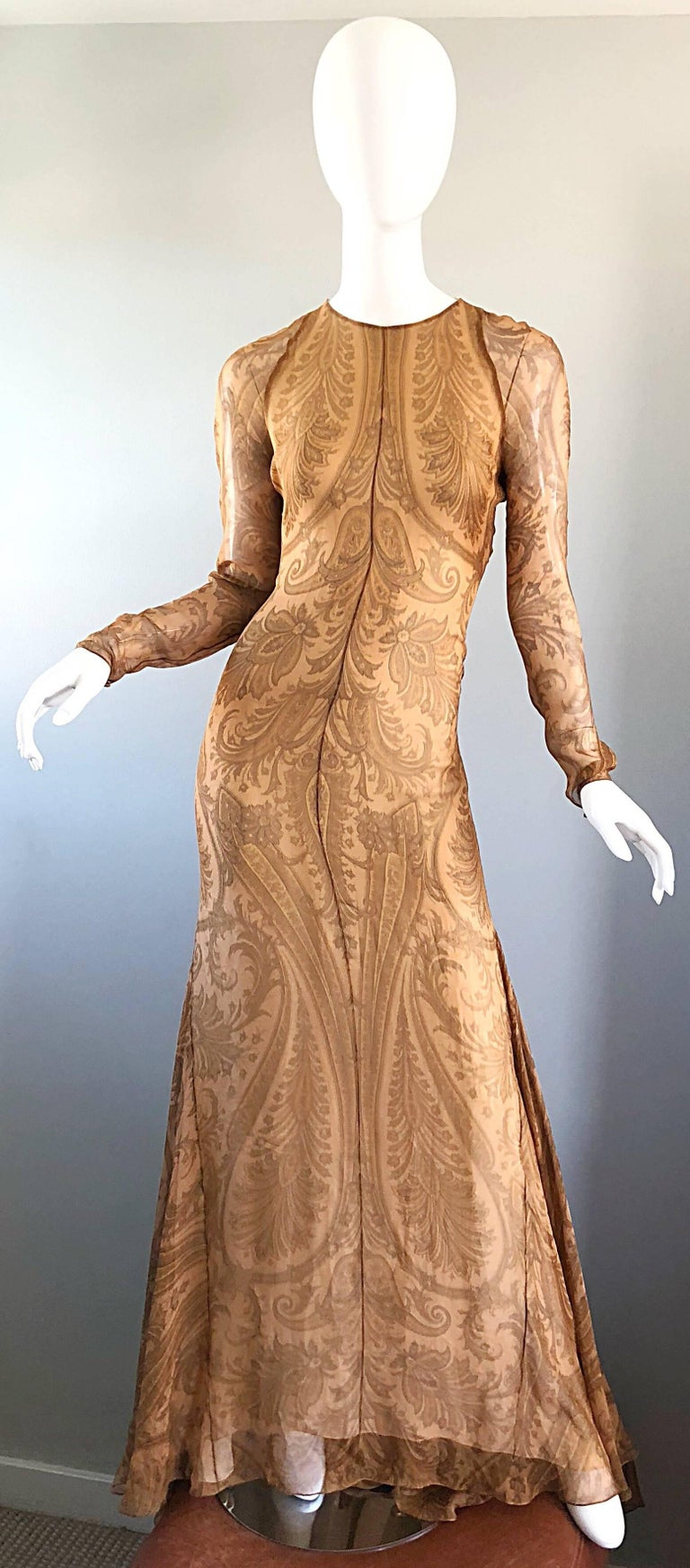 Sensational 1990s Bill Blass Couture Nude Silk Chiffon Paisley Vintage 90s Gown  For Sale 5