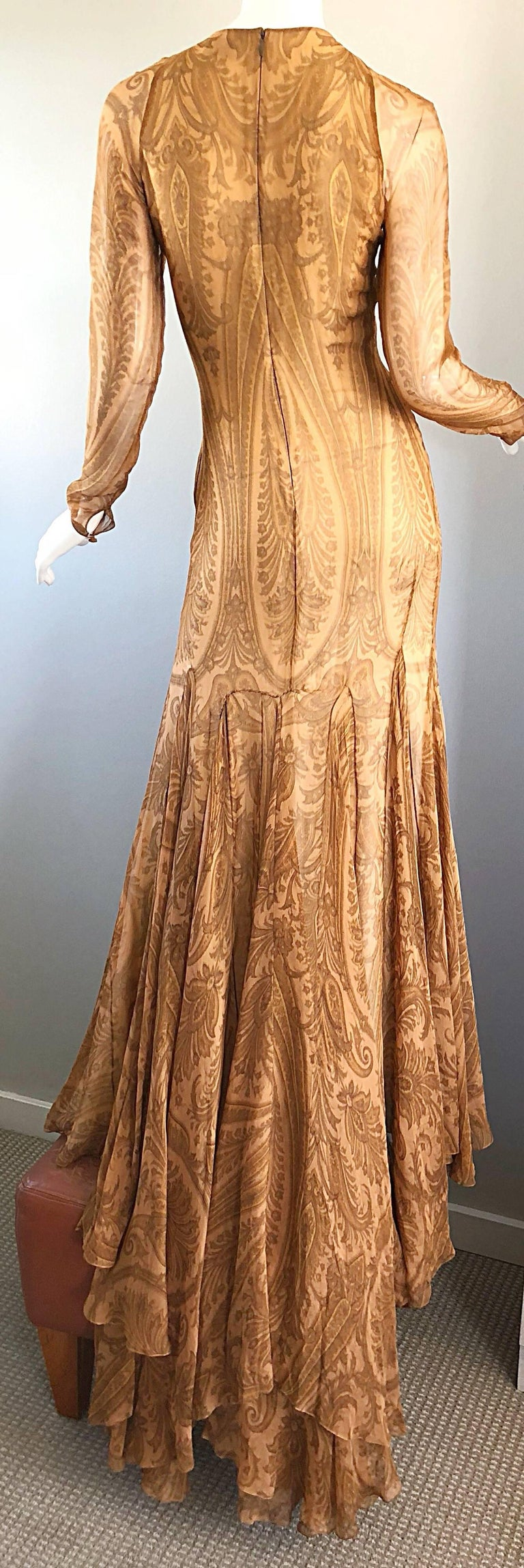 Sensational 1990s Bill Blass Couture Nude Silk Chiffon Paisley Vintage 90s Gown  For Sale 6