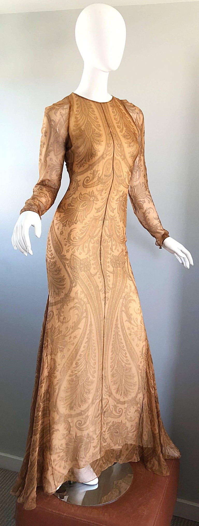 Sensational 1990s Bill Blass Couture Nude Silk Chiffon Paisley Vintage 90s Gown  For Sale 7