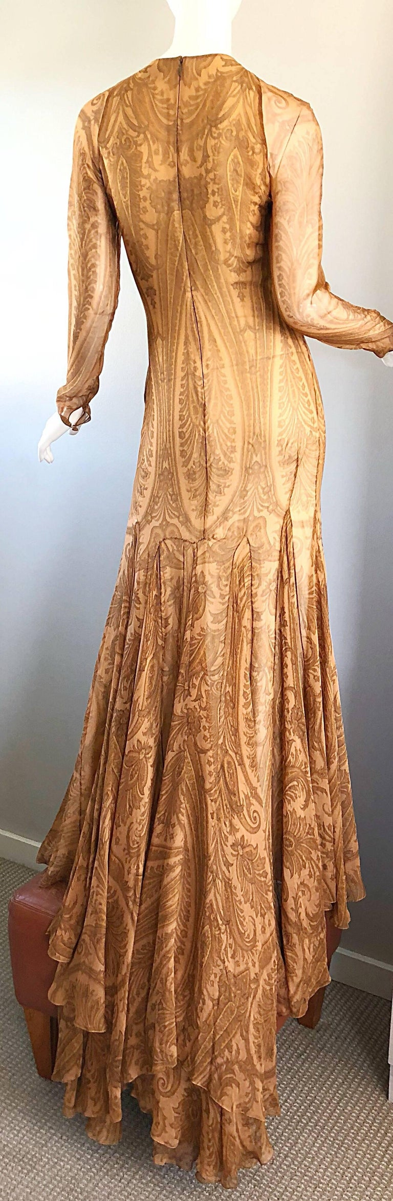 Sensational 1990s Bill Blass Couture Nude Silk Chiffon Paisley Vintage 90s Gown  For Sale 8