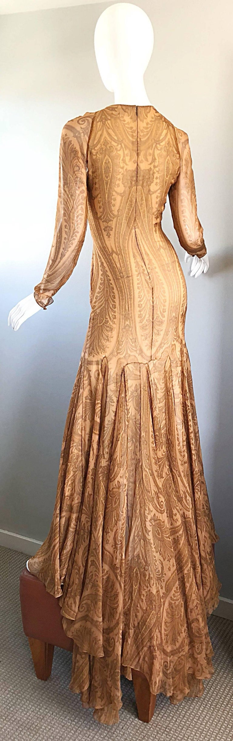 Sensational 1990s Bill Blass Couture Nude Silk Chiffon Paisley Vintage 90s Gown  For Sale 9