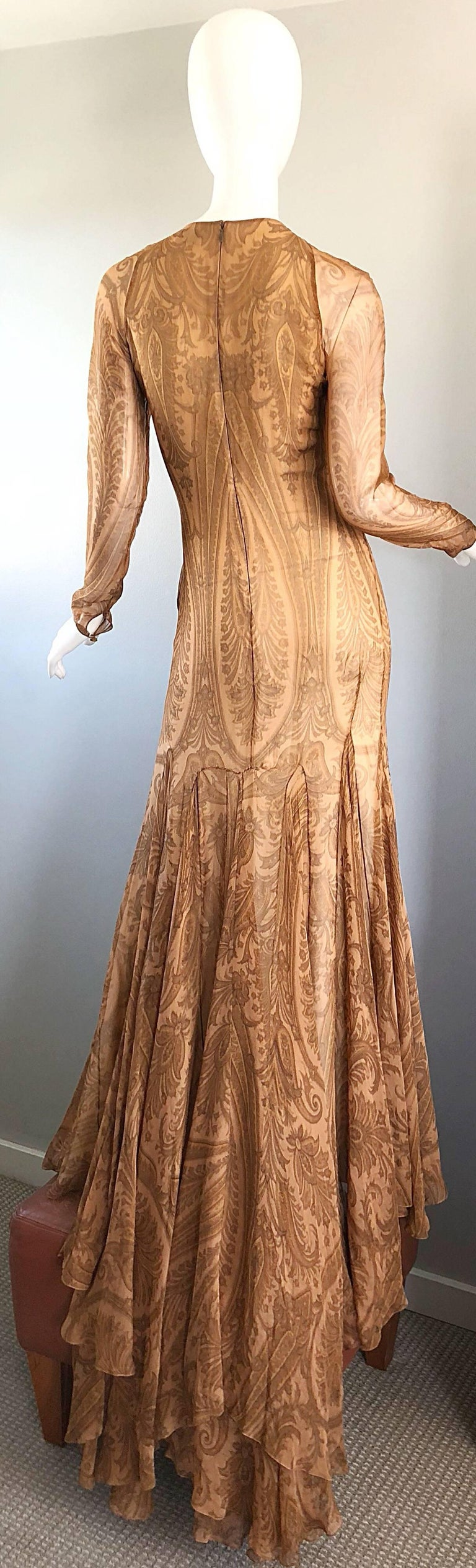 Sensational 1990s Bill Blass Couture Nude Silk Chiffon Paisley Vintage 90s Gown  For Sale 10