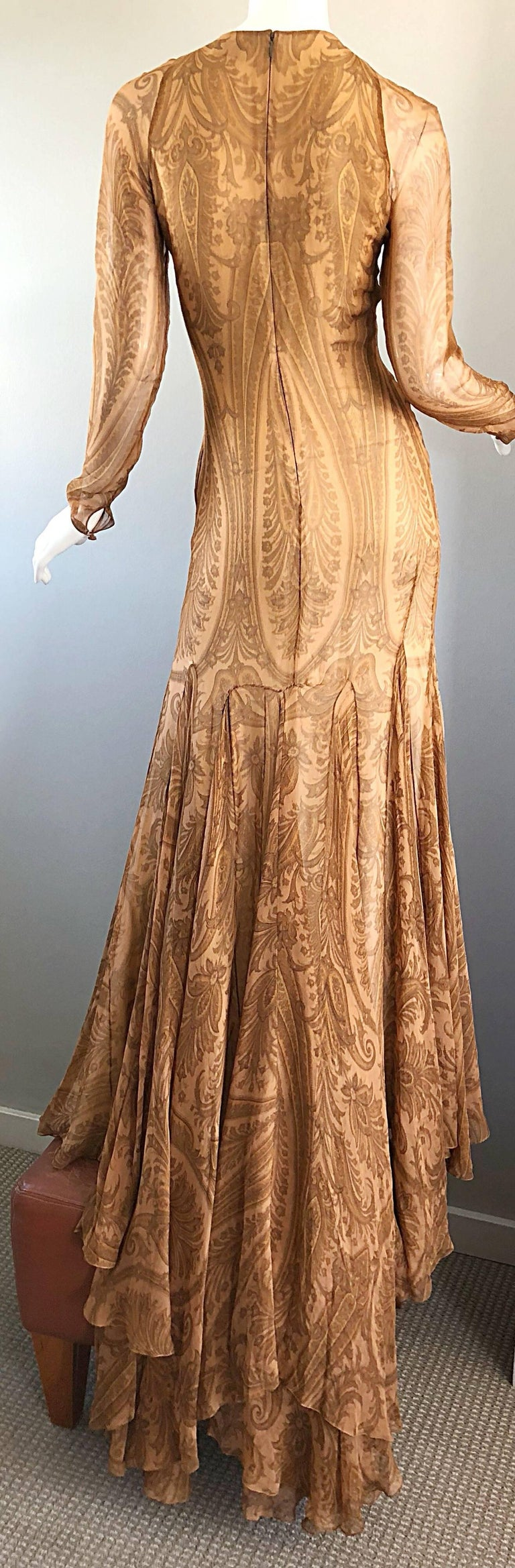 Sensational 1990s Bill Blass Couture Nude Silk Chiffon Paisley Vintage 90s Gown  For Sale 11