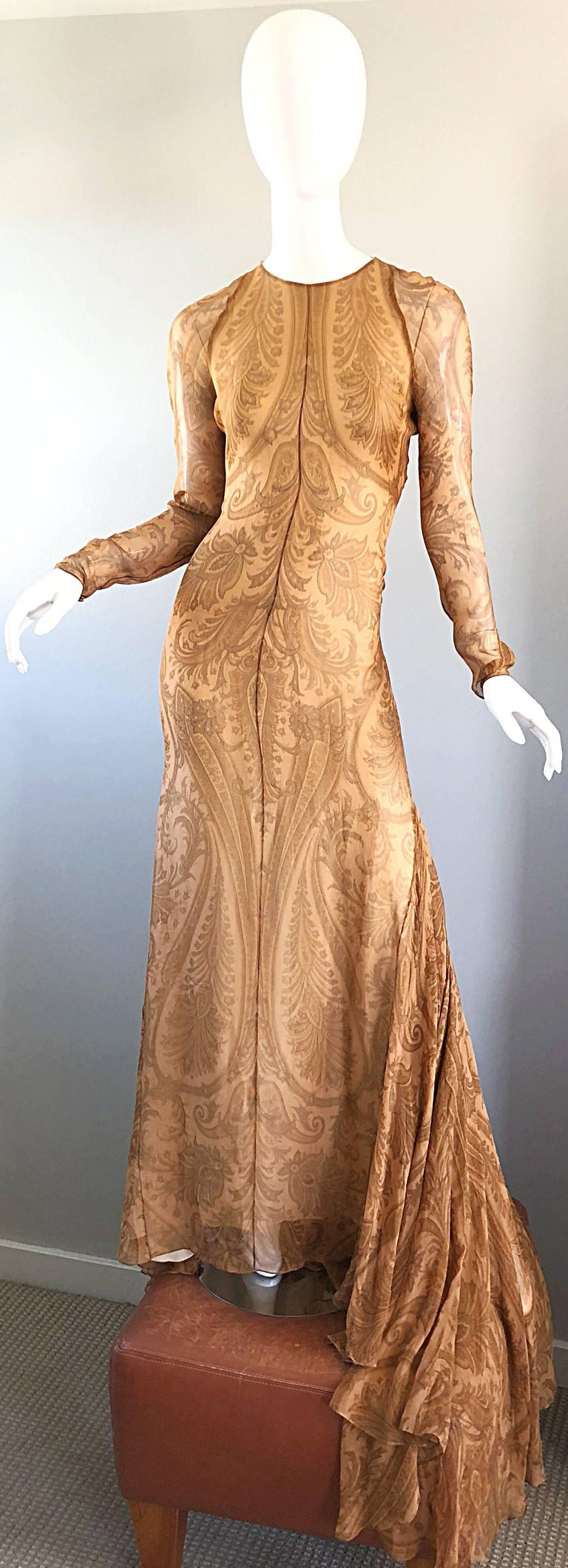 Sensational 1990s Bill Blass Couture Nude Silk Chiffon Paisley Vintage 90s Gown  For Sale 12