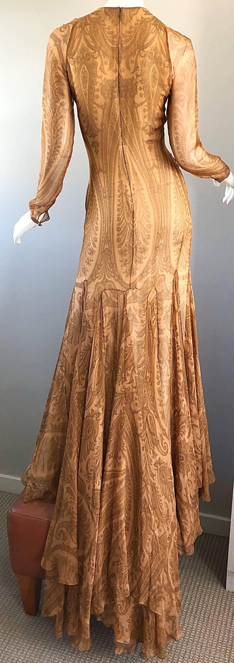 Sensational 1990s Bill Blass Couture Nude Silk Chiffon Paisley Vintage 90s Gown  For Sale 13