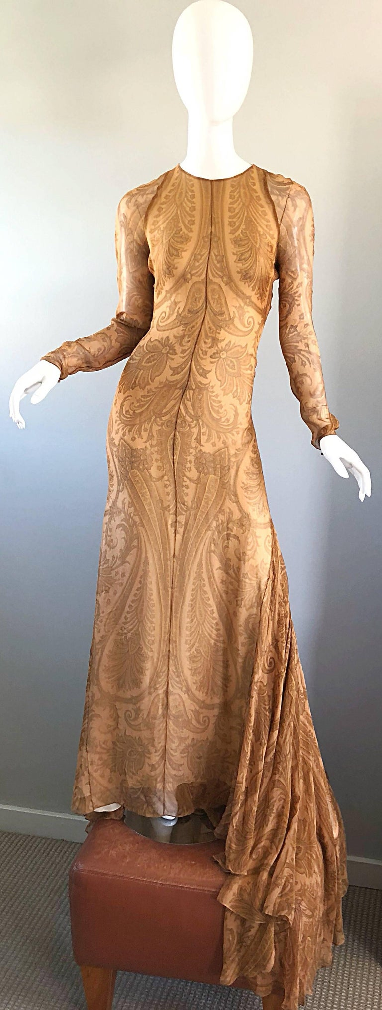 Sensational 1990s Bill Blass Couture Nude Silk Chiffon Paisley Vintage 90s Gown  For Sale 14