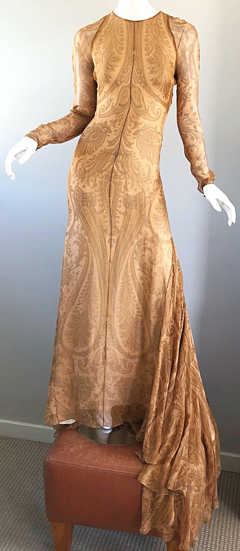 Sensational vintage late 90s BILL BLASS couture nude silk chiffon paisley print full length evening dress with dramatic train! This is an original sample, and is incredibly well made! Regal paisley print throughout, with semi sheer long sleek