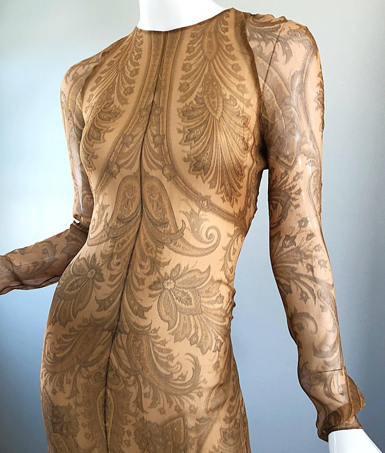 Brown Sensational 1990s Bill Blass Couture Nude Silk Chiffon Paisley Vintage 90s Gown  For Sale