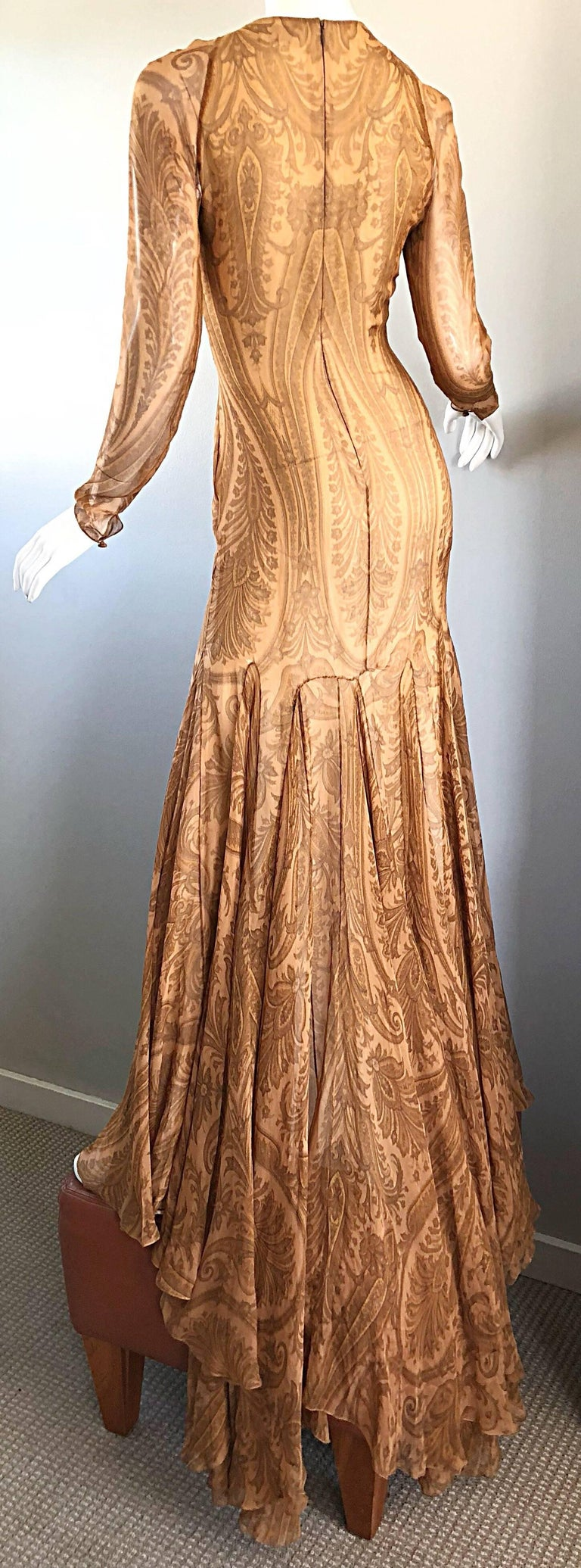 Sensational 1990s Bill Blass Couture Nude Silk Chiffon Paisley Vintage 90s Gown  In Excellent Condition For Sale In Chicago, IL