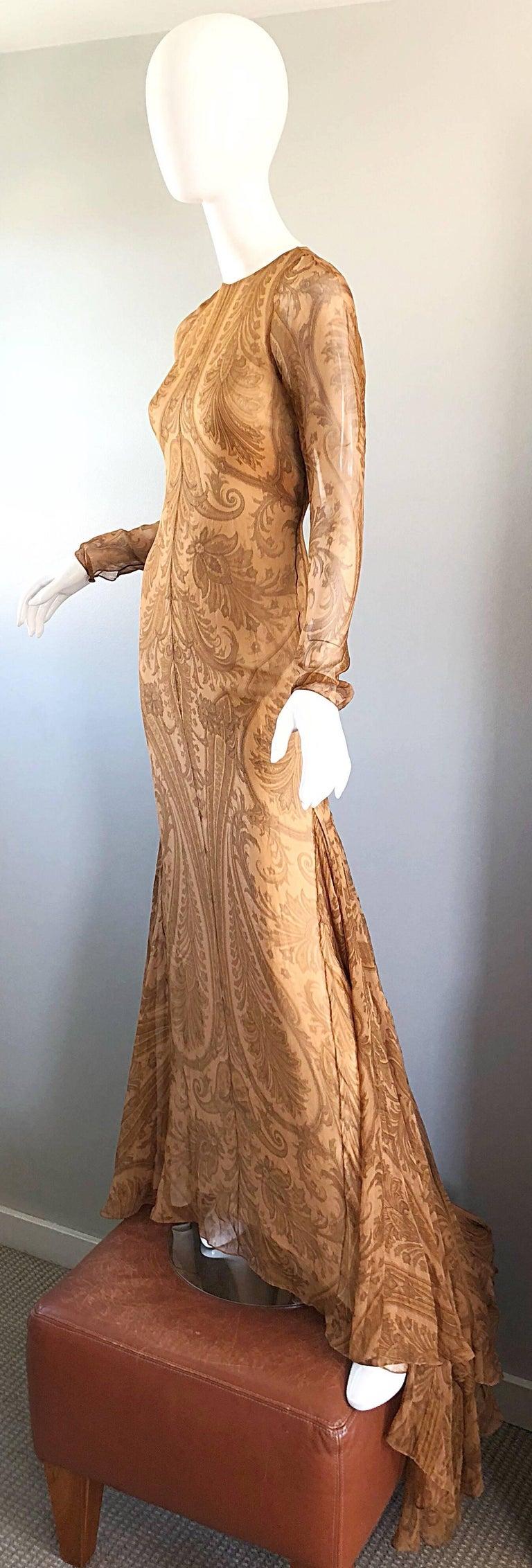 Women's Sensational 1990s Bill Blass Couture Nude Silk Chiffon Paisley Vintage 90s Gown  For Sale