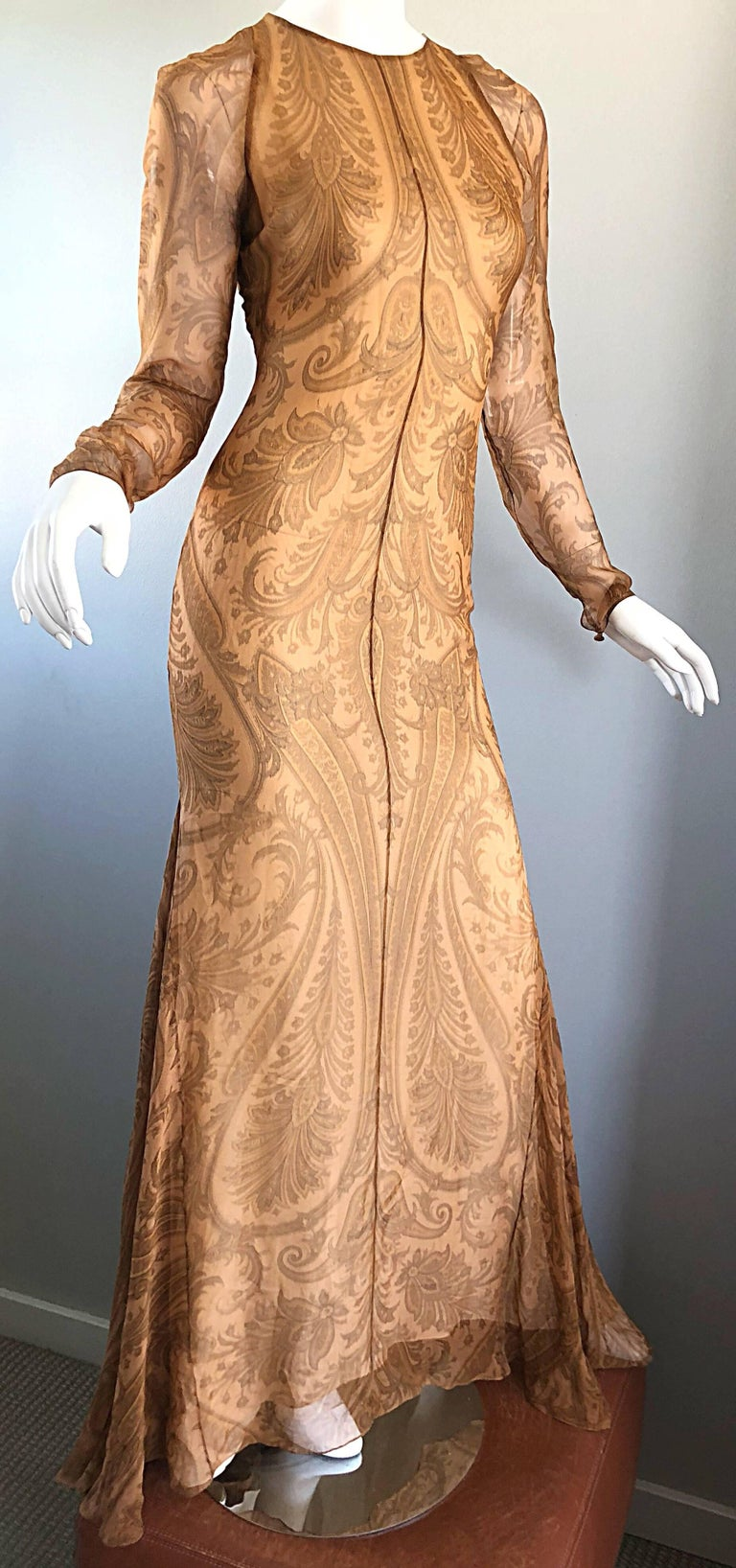 Sensational 1990s Bill Blass Couture Nude Silk Chiffon Paisley Vintage 90s Gown  For Sale 1