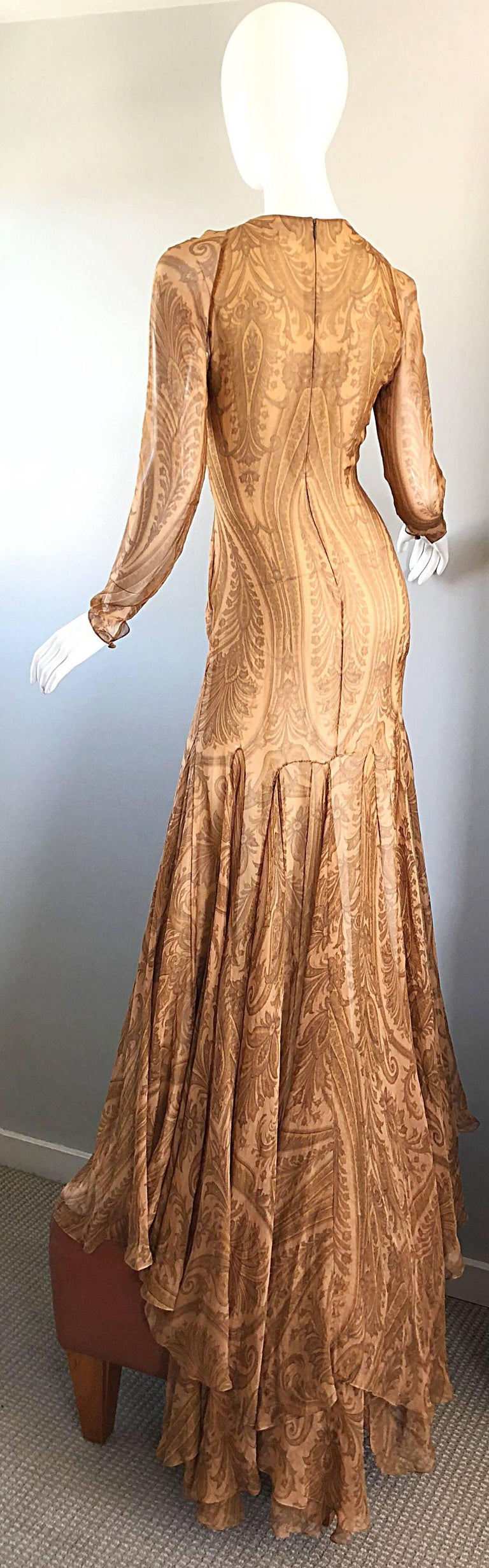 Sensational 1990s Bill Blass Couture Nude Silk Chiffon Paisley Vintage 90s Gown  For Sale 2