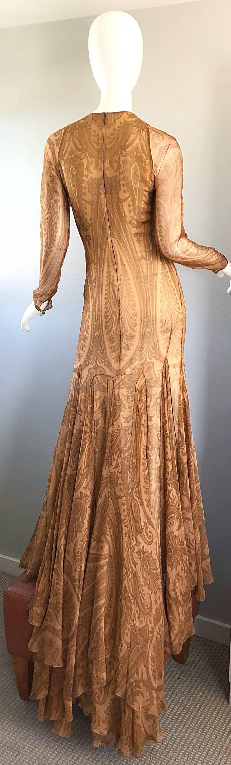 Sensational 1990s Bill Blass Couture Nude Silk Chiffon Paisley Vintage 90s Gown  For Sale 3