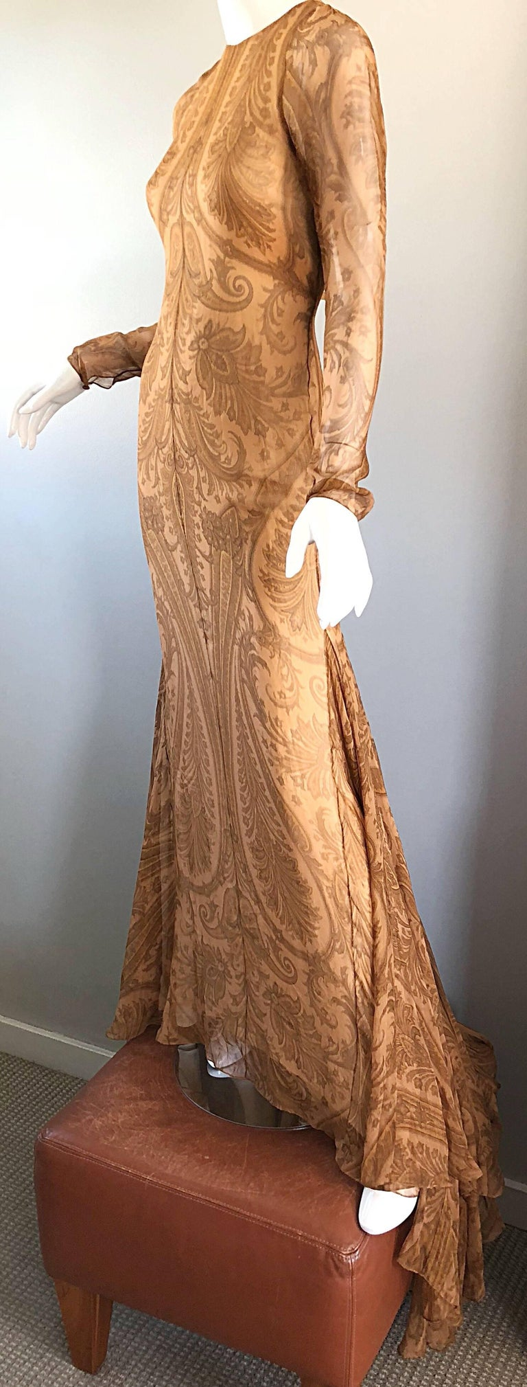 Sensational 1990s Bill Blass Couture Nude Silk Chiffon Paisley Vintage 90s Gown  For Sale 4