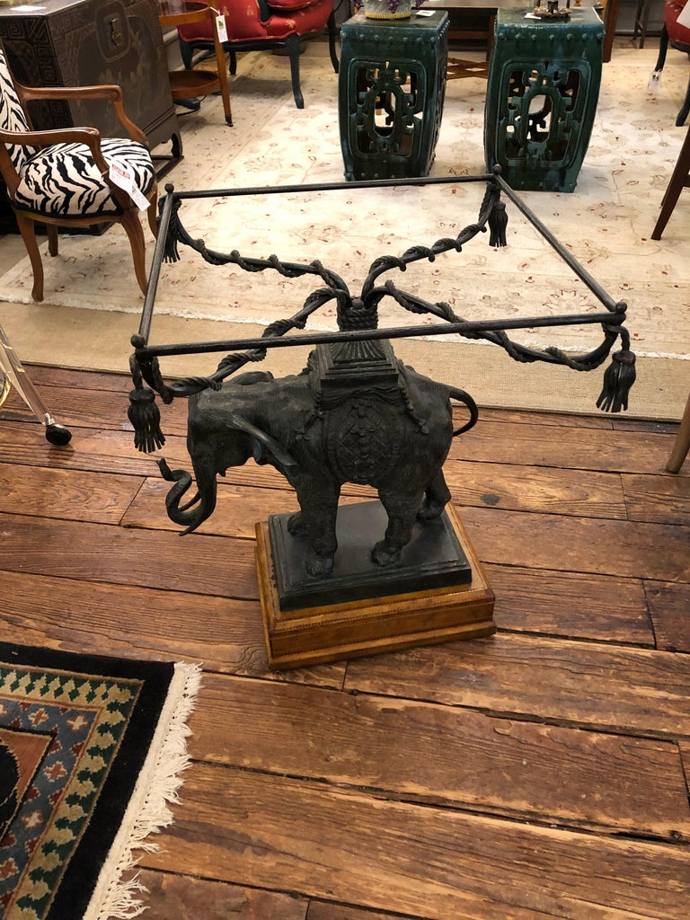 Sensational Black Patinated Bronze Elephant Motife Side Table In Good Condition For Sale In Hopewell, NJ