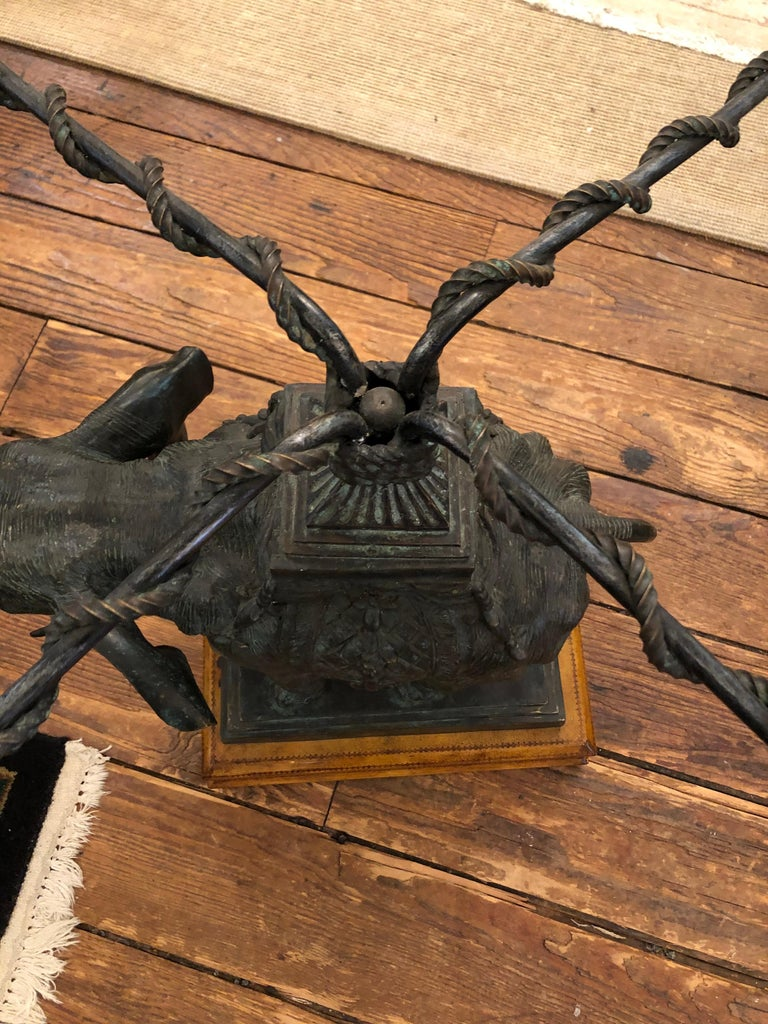 Late 20th Century Sensational Black Patinated Bronze Elephant Motife Side Table For Sale
